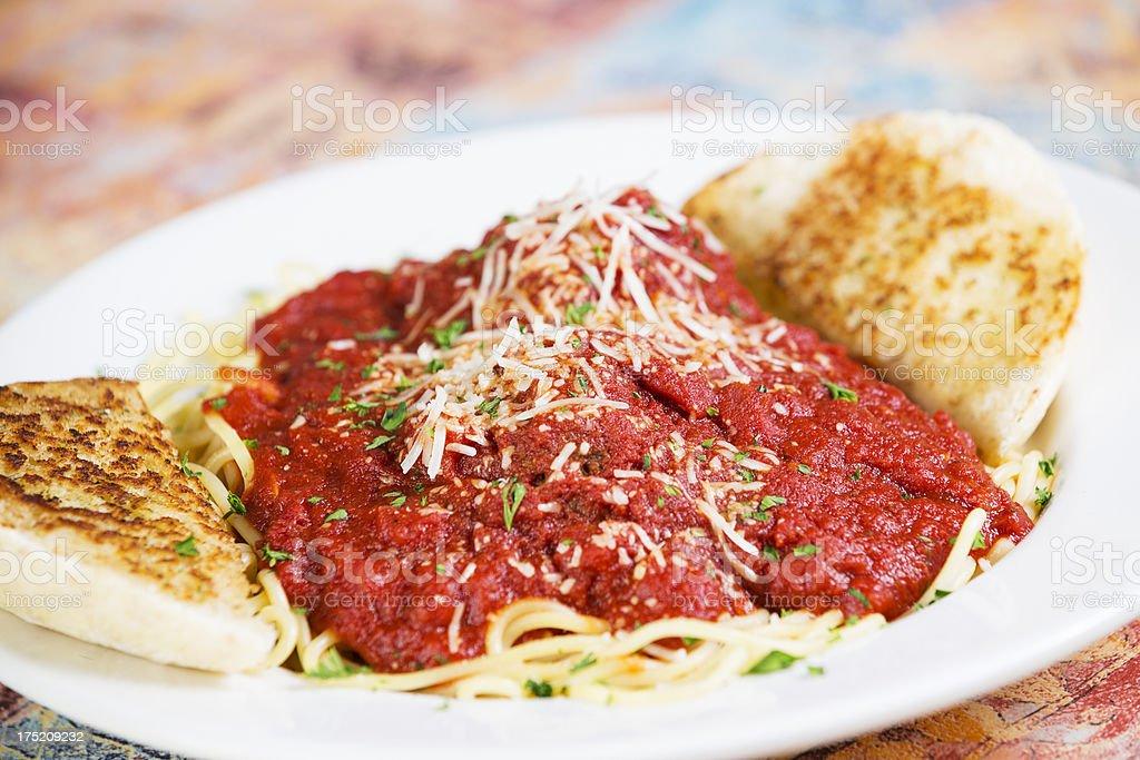 Italian food: plate of spaghetti with meatballs stock photo