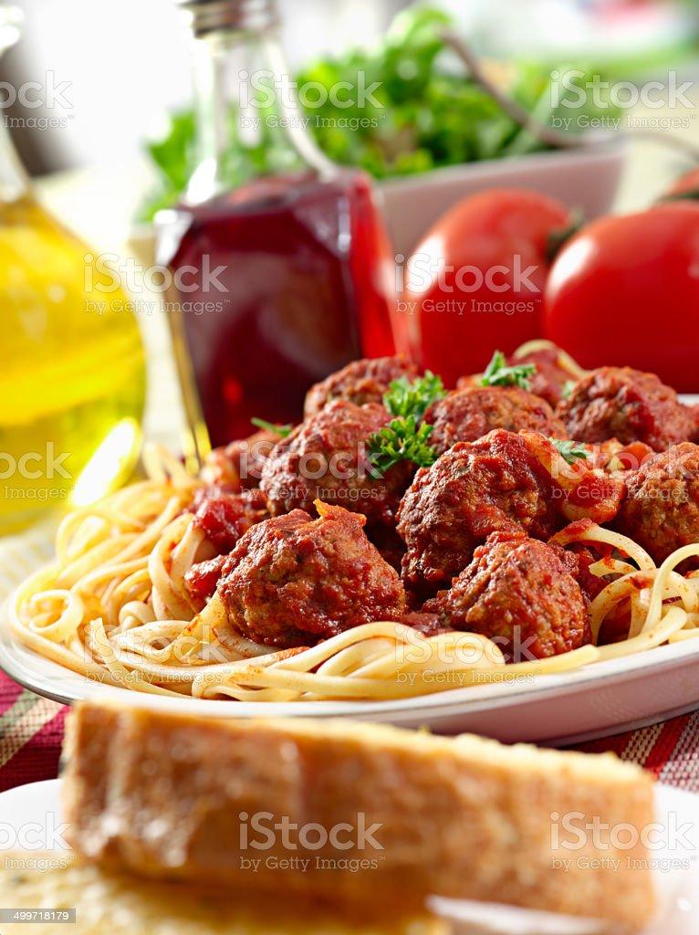 italian food - spaghetti and meatballs stock photo