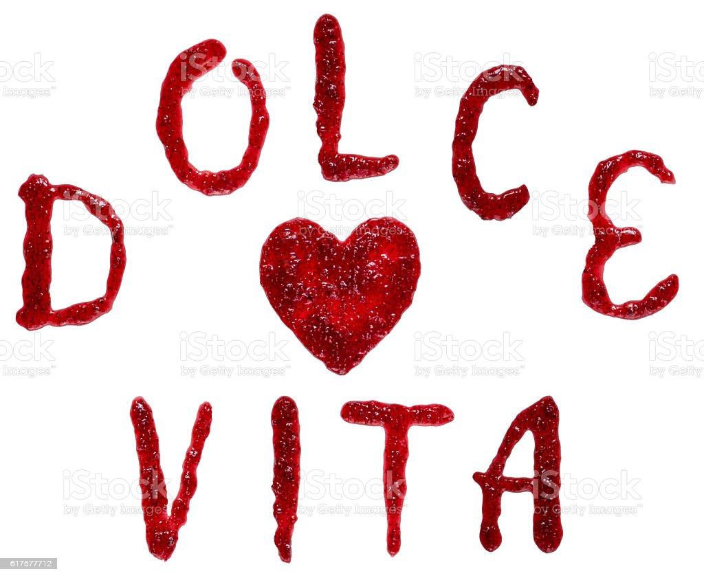 italian frase 'dolce vita' (sweet life) spelling with jam stock photo