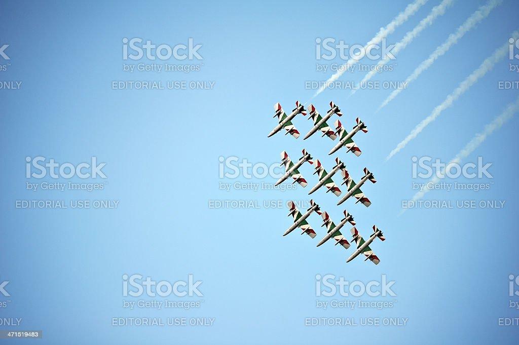 Italian Frecce Tricolori aerobatics team royalty-free stock photo