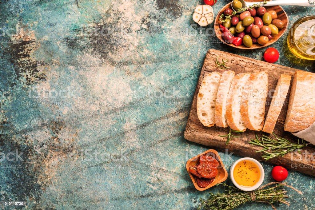 Italian fresh ciabatta bread stock photo