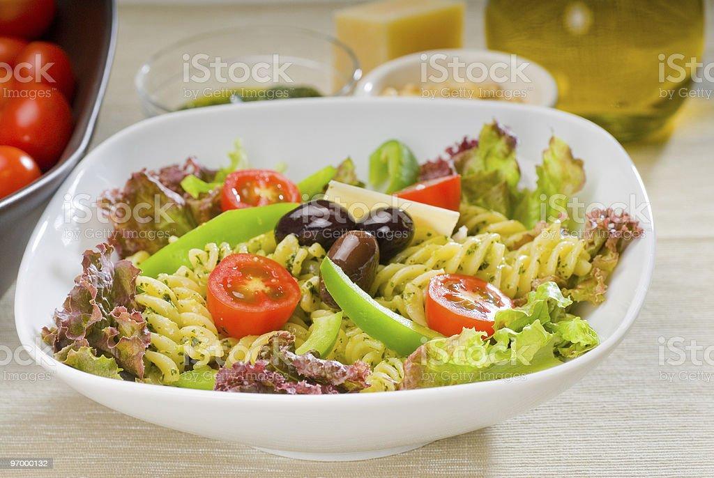 italian fusilli pasta salad royalty-free stock photo