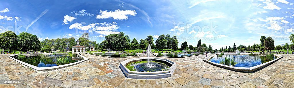 Italian Gardens in Kensington Garden, panorama stock photo