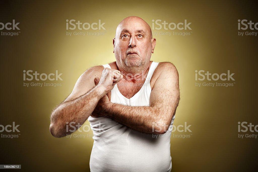 Italian gesture series: Armpit fart stock photo