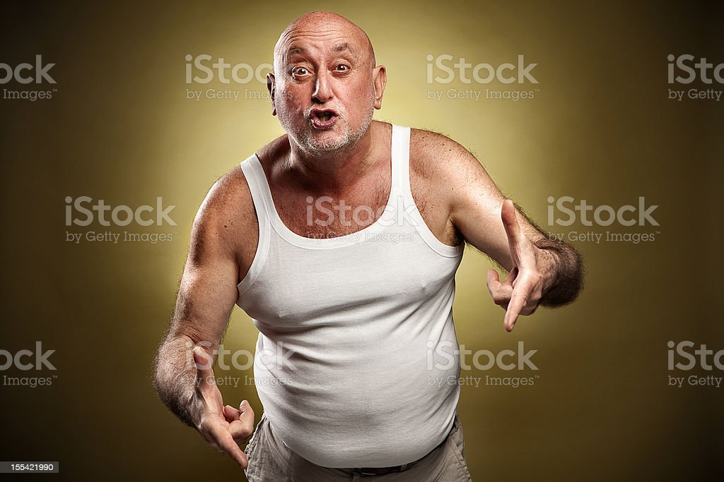 Italian gesture series: 'I'll make your a*s this big' royalty-free stock photo