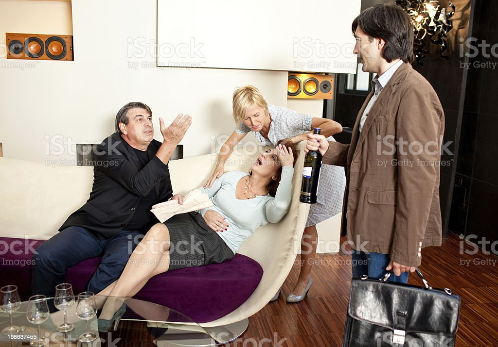 Italian girl introducing her boyfriend to family royalty-free stock photo