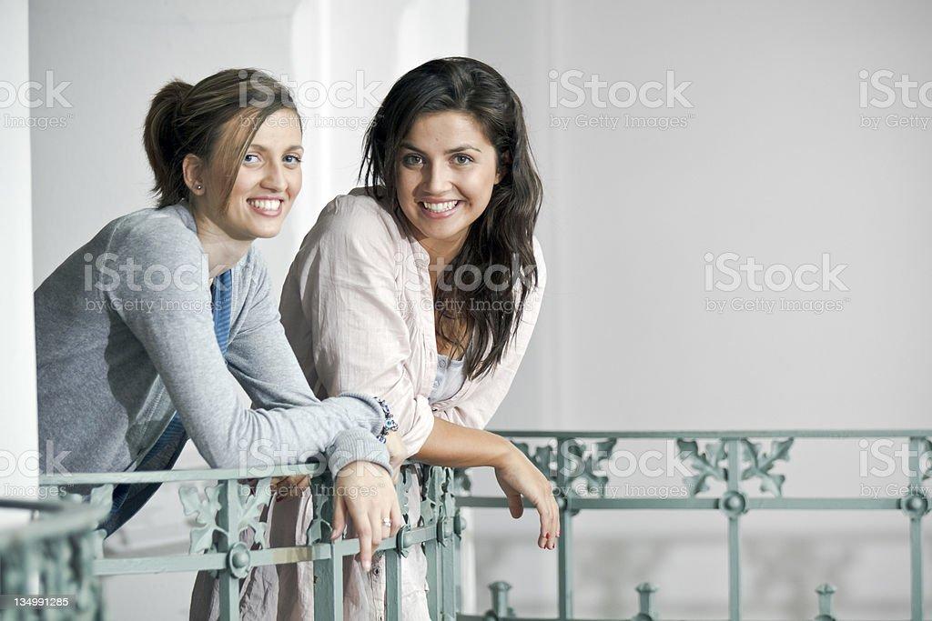 Italian Girls on the balustrade stock photo
