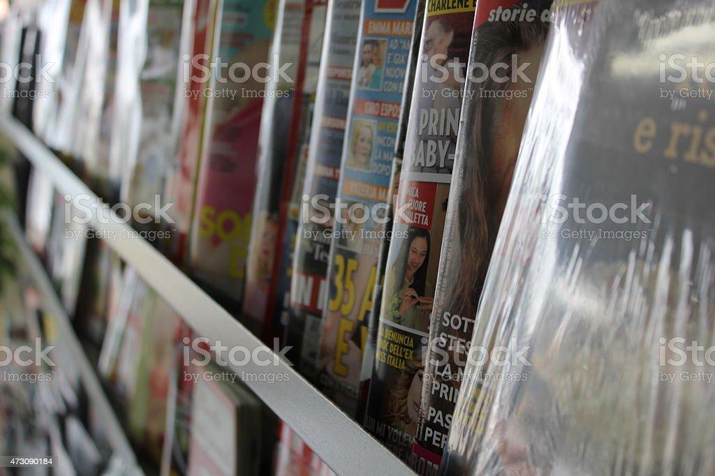 italian gossip newspapers background stock photo