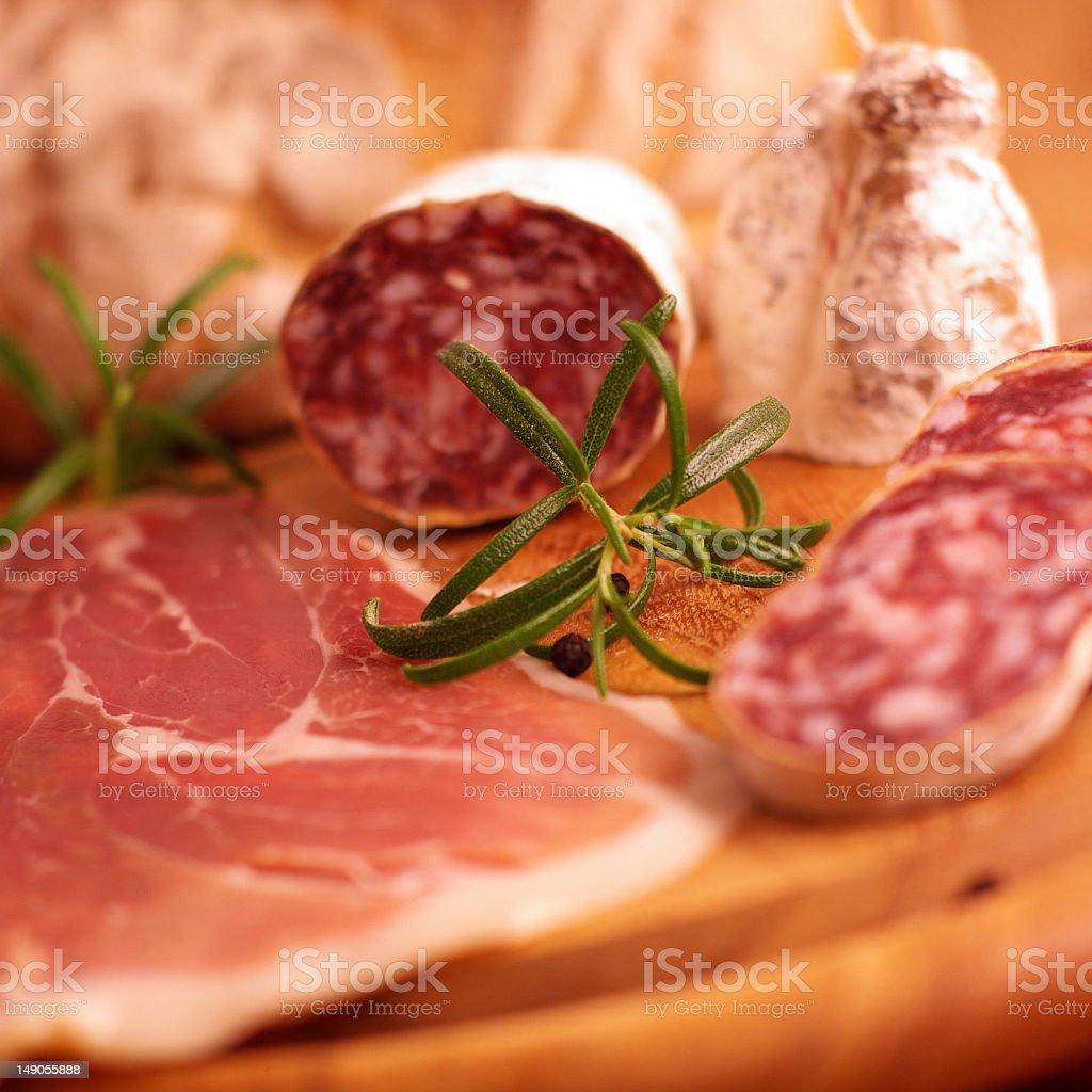 Italian ham and salami royalty-free stock photo