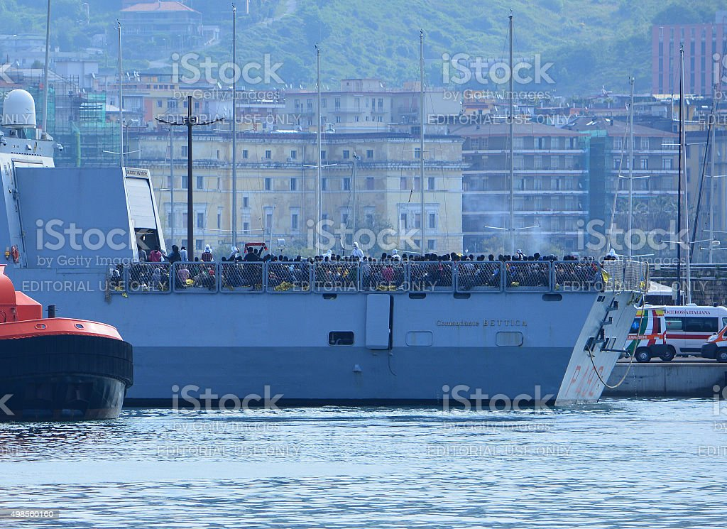 Italian High Seas Patrol Boat Comandante Bettica Filled With Refugees stock photo