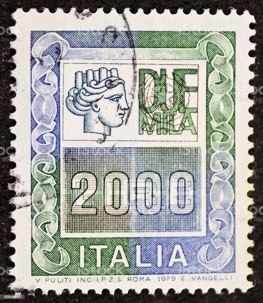 Italian high value postage stamp stock photo
