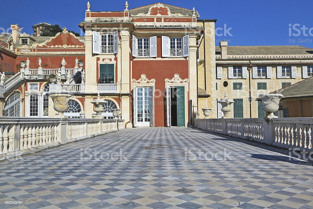 Italian historical palace in Genoa, Italy stock photo
