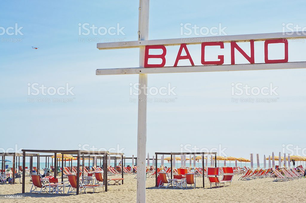 Italian holiday! Bagno - bath, Italian beach stock photo