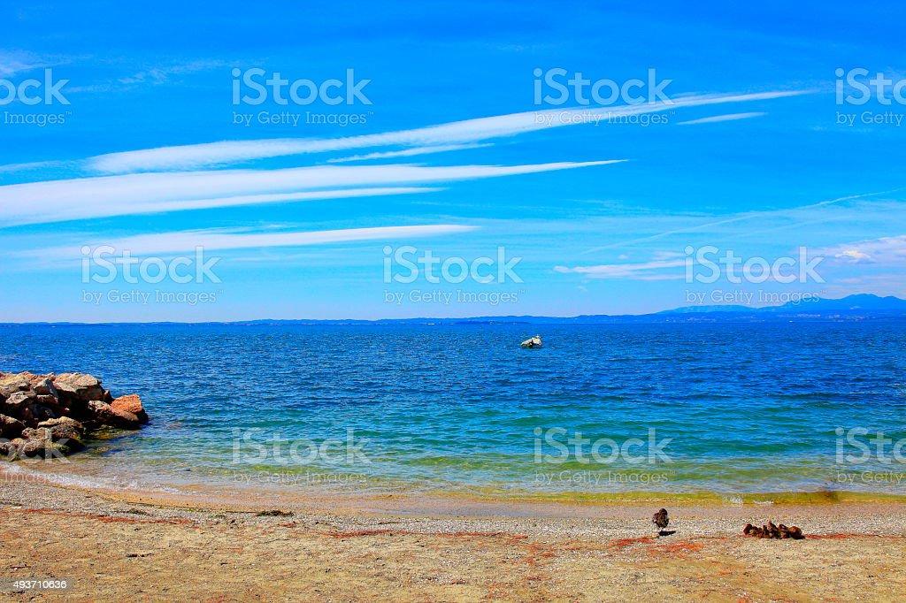 Italian idyllic Lake garda coastline shore, ITaly stock photo