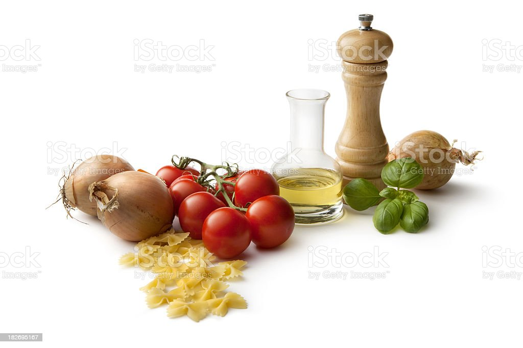 Italian Ingredients: Farfalle, Tomato, Onion, Olive Oil, Basil and Pepper royalty-free stock photo