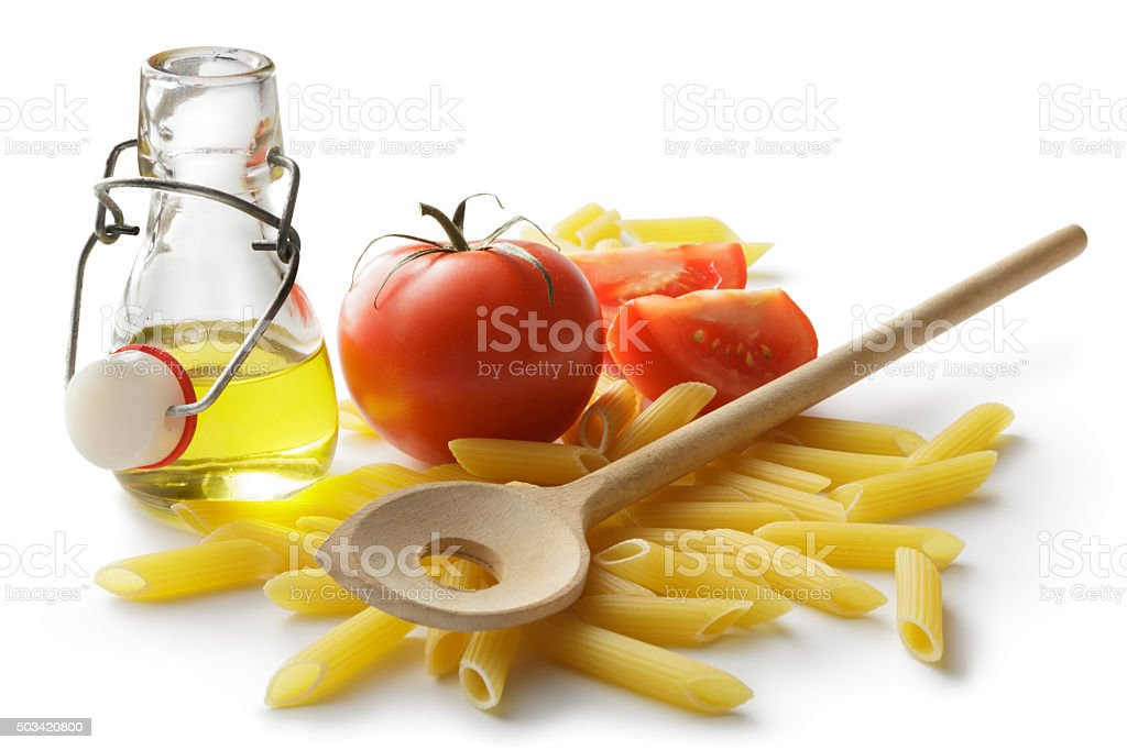 Italian Ingredients: Penne, Tomato and Olive Oil stock photo