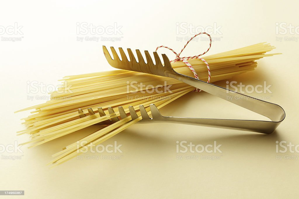 Italian Ingredients: Spaghetti and Server royalty-free stock photo