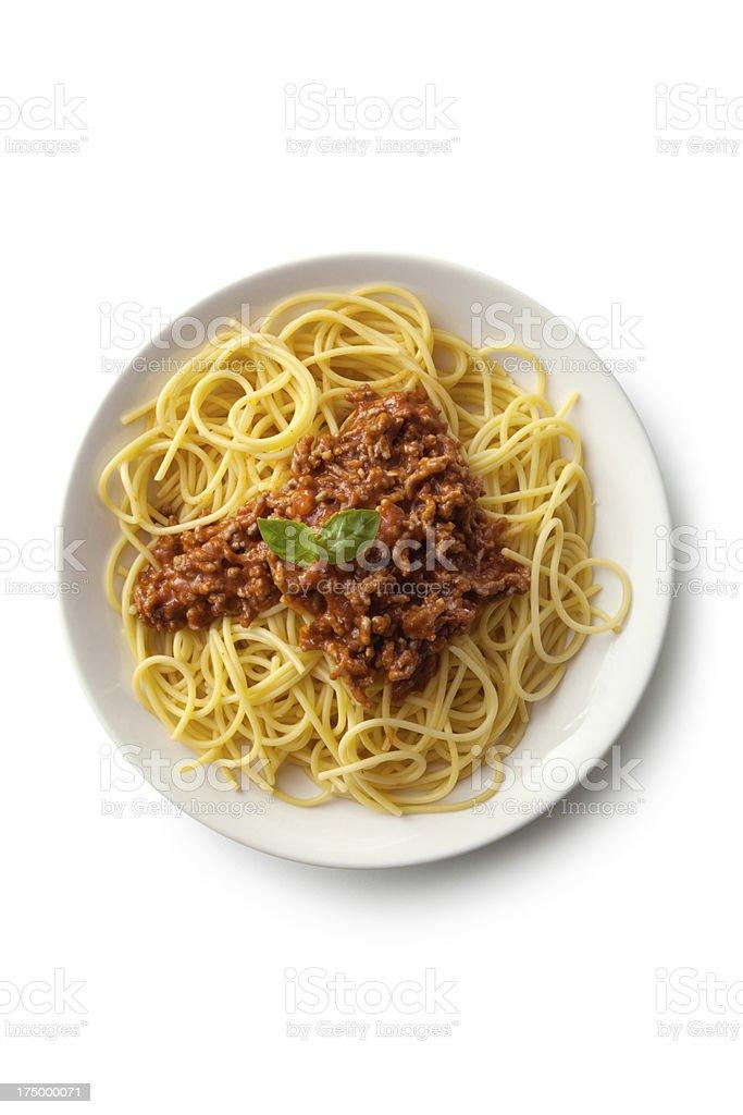 Italian Ingredients: Spaghetti Bolognese stock photo