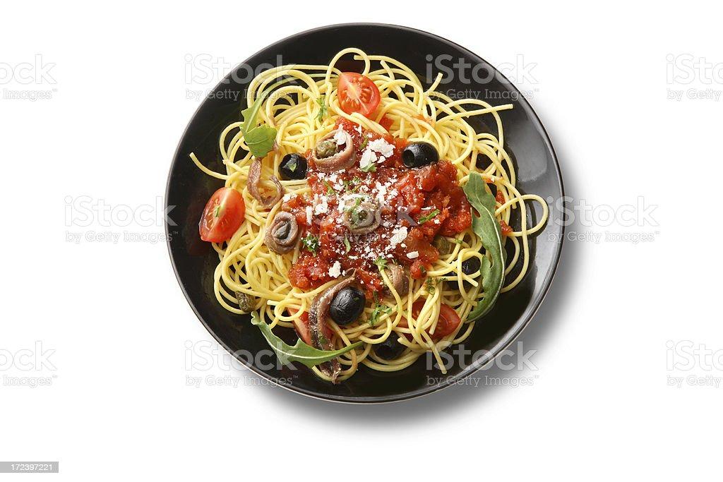 Italian Ingredients: Spaghetti Puttanesca stock photo