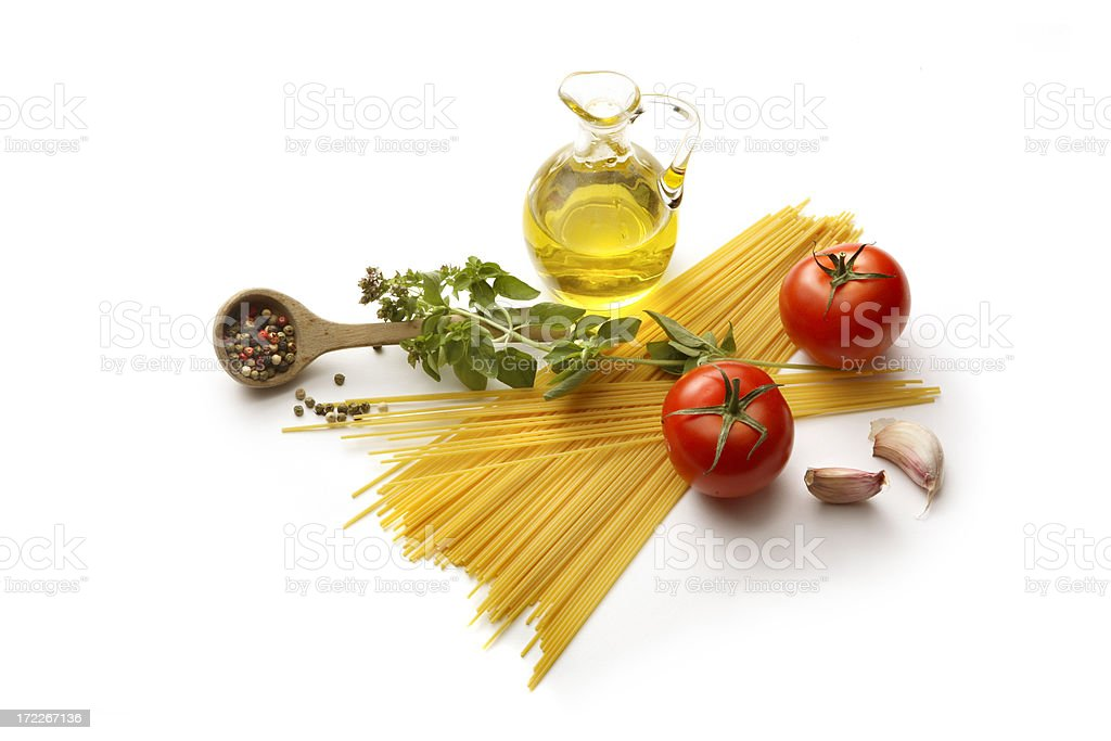 Italian Ingredients: Spaghetti, Tomato, Oregano, Garlic, Pepper and Olive Oil royalty-free stock photo