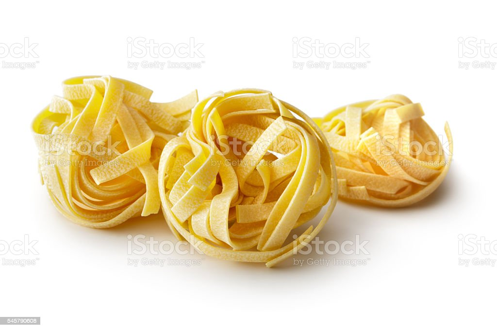 Italian Ingredients: Tagliatelle Isolated on White Background stock photo