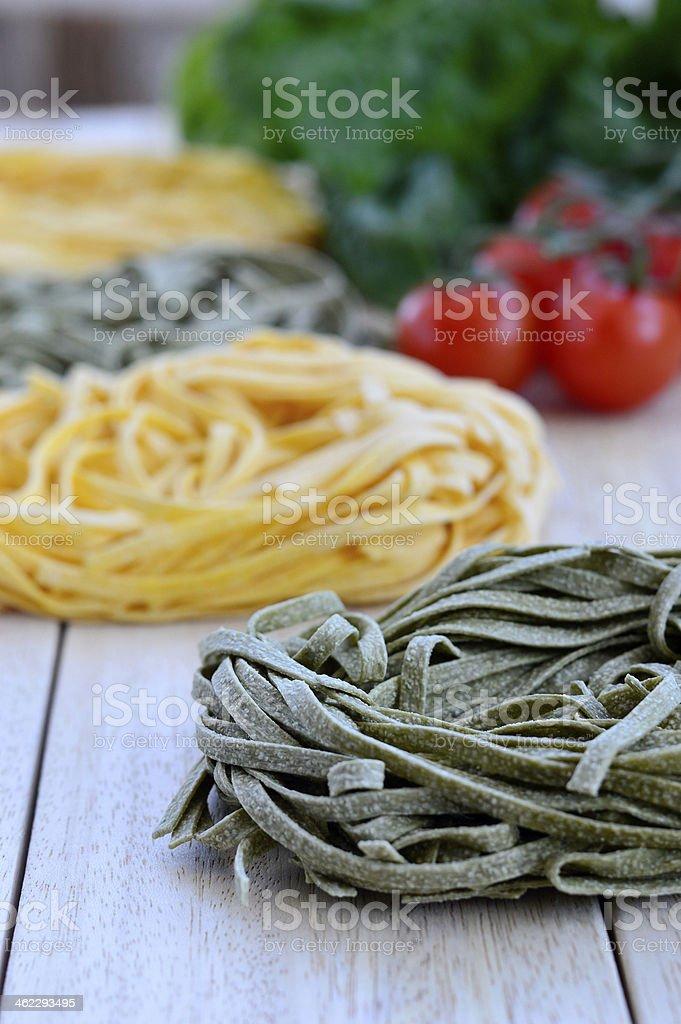 Italian Ingredients: Tagliatelle pasta royalty-free stock photo