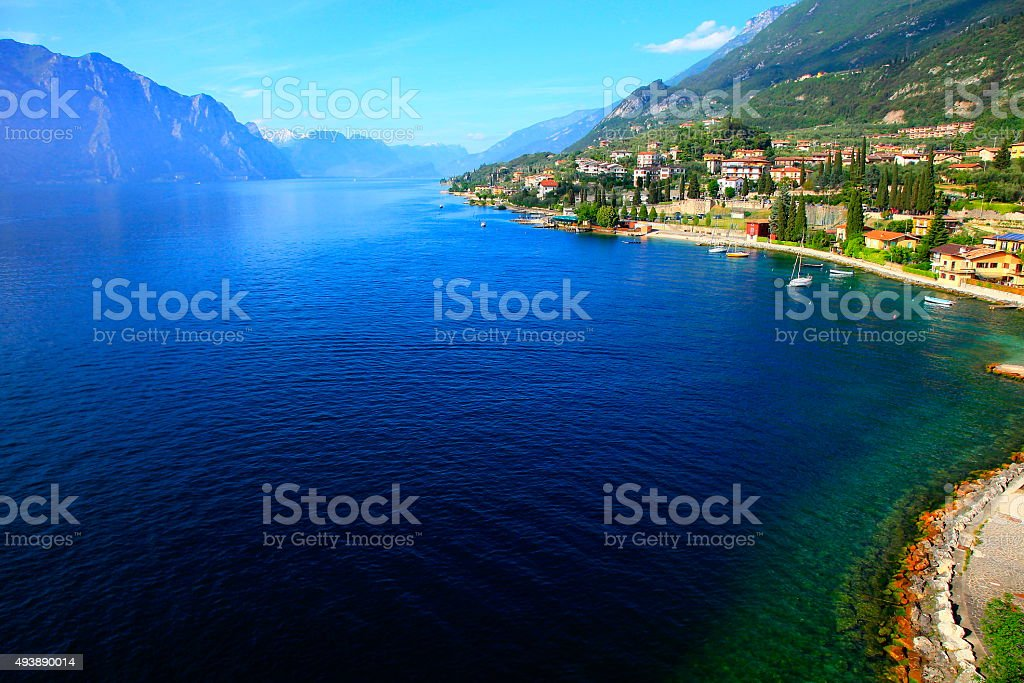 Italian Lake Garda paradise panorama sunset: Alpine relax landscape, Malcesine stock photo