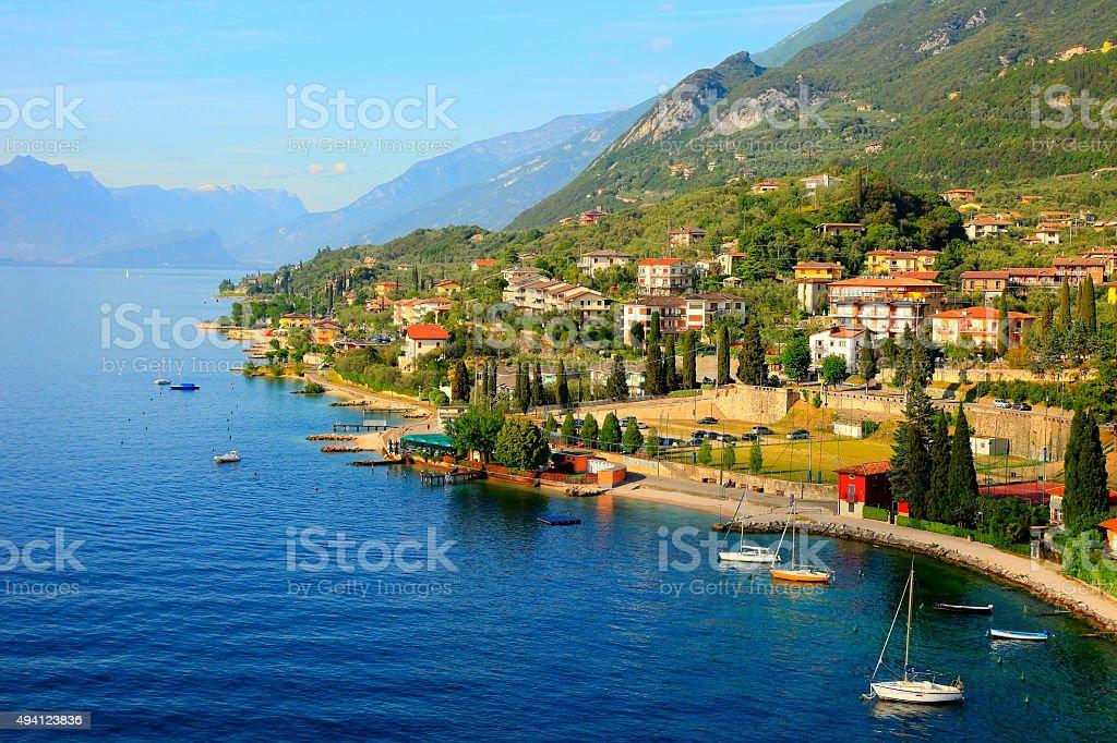 Italian Lake Garda paradise panorama sunset: Alpine relax landscape, Malcesine stock photo