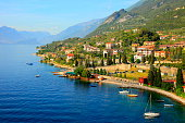 Italian Lake Garda paradise panorama sunset: Alpine relax landscape, Malcesine