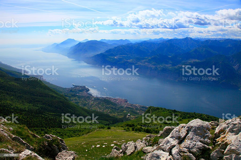 Italian lake Garda turquoise paradise, above alpine Monte Baldo, Malcesine stock photo