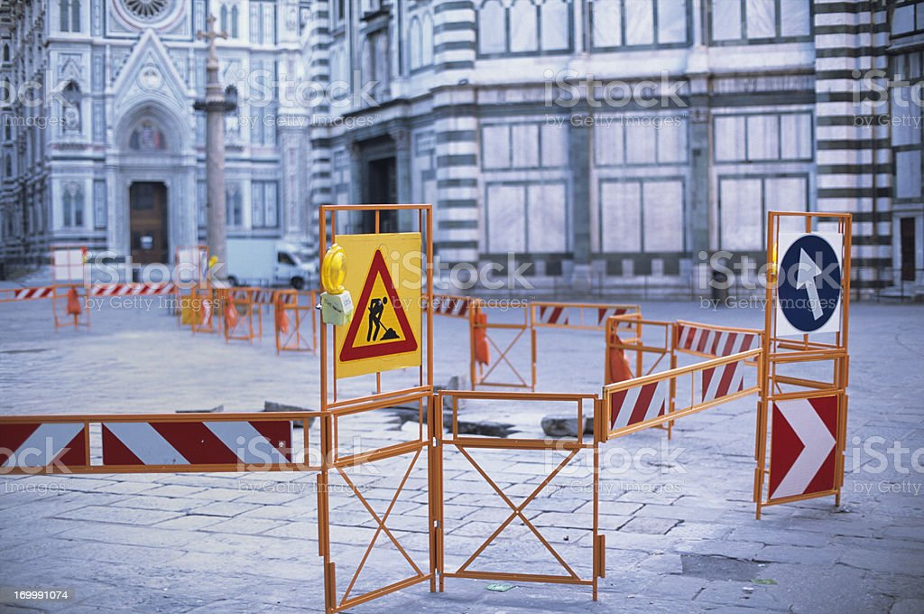 Italian landmark and tourist attraction disrupted by public roadworks royalty-free stock photo