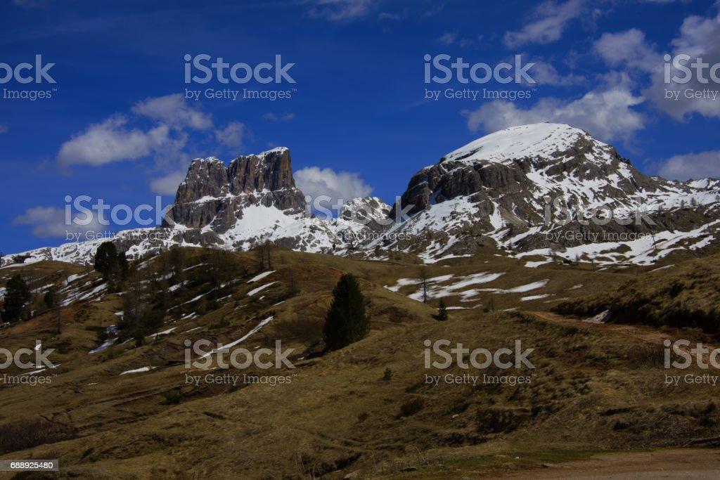 Italian landscape, Dolomites mountain stock photo