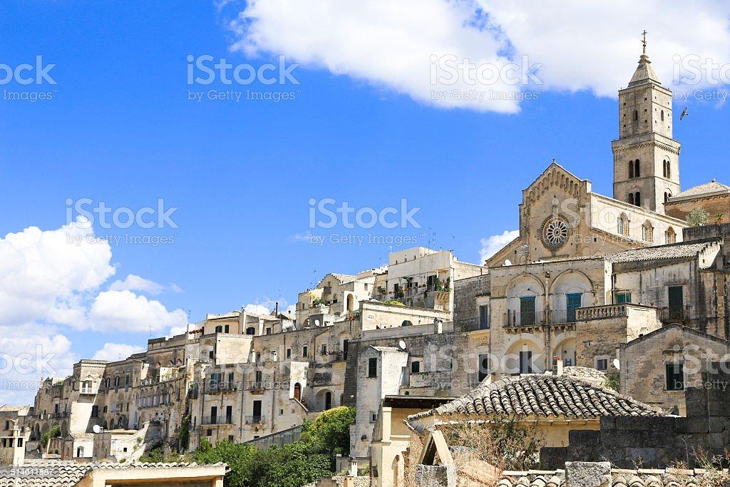 Italian landscape: famous Matera stones stock photo