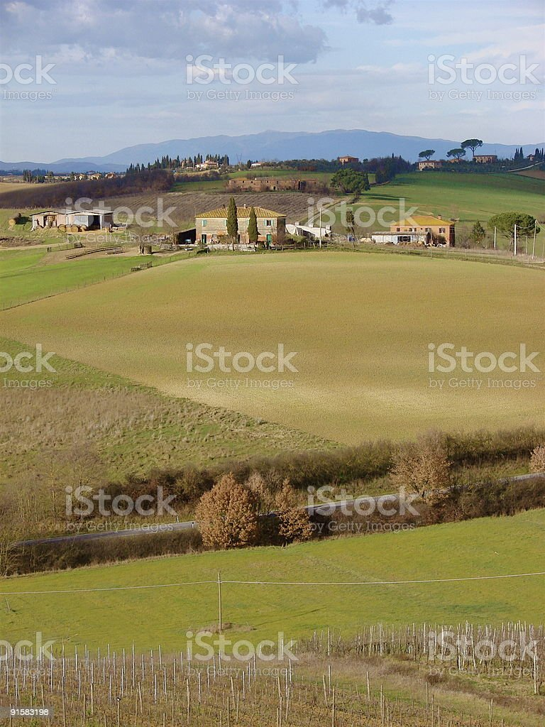 Italian landscape in Tuscany stock photo