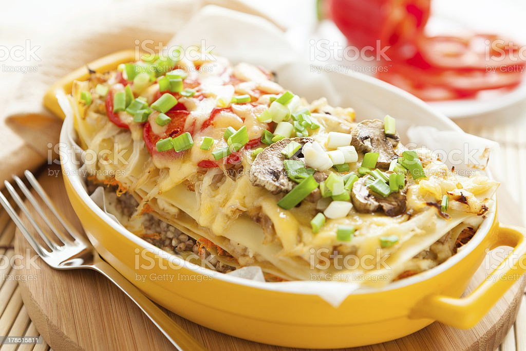 Italian lasagna dish with vegetables royalty-free stock photo