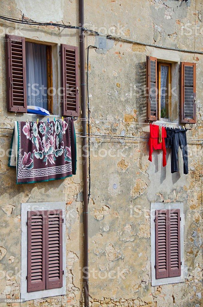 Italian Laundry in San Gimignano, Italy stock photo