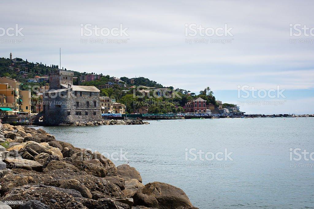 Italian Ligurian coast. City Rapallo in July. Castle. Sea.
