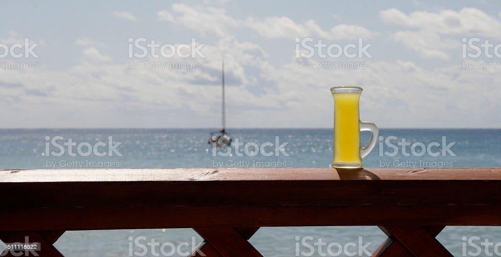 italian limoncello background sea stock photo