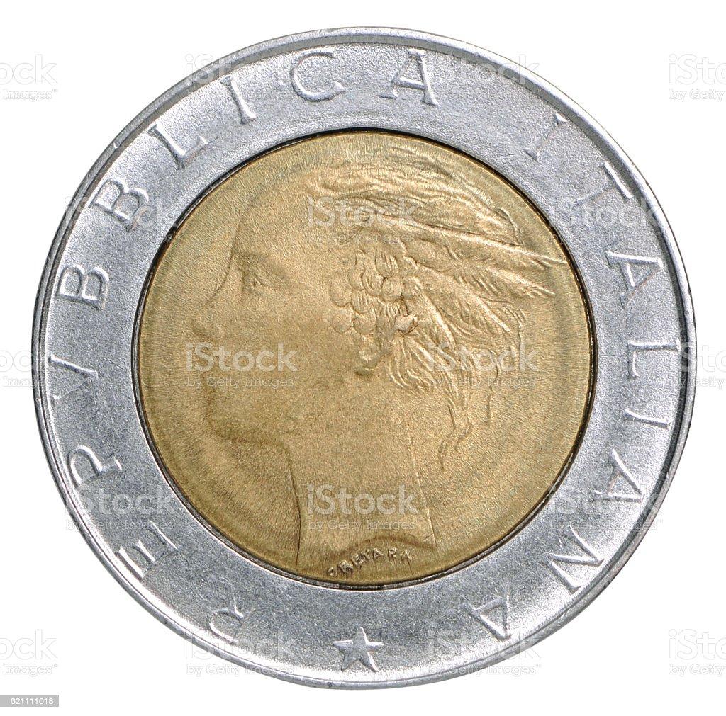 Italian lira coin stock photo