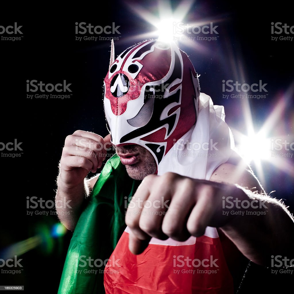 Italian Luchador Posing for Paparazzi stock photo