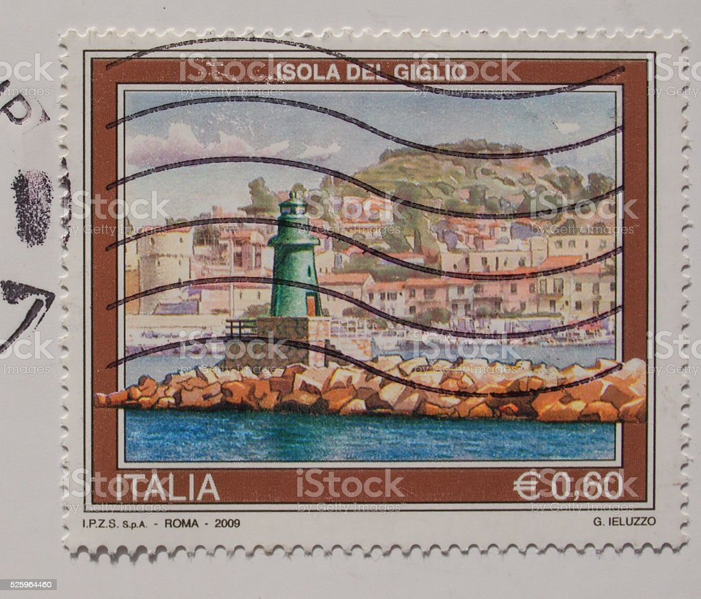 Italian mail stamp with the Isola del Giglio stock photo