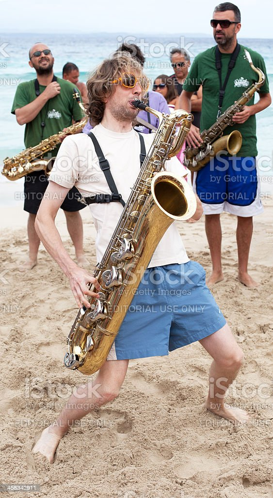 Italian Marching Band performing on the Beach in Sardinia stock photo