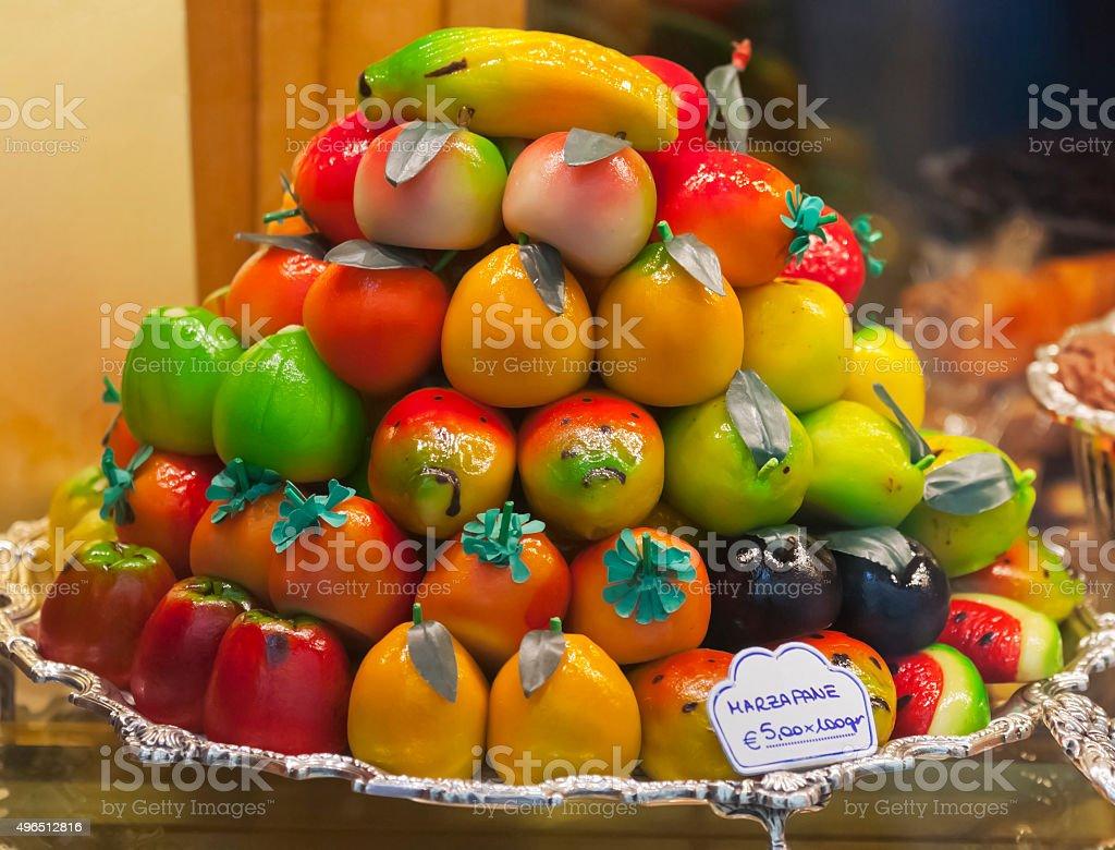 Italian Marzipan Fruit in Pyramid Display stock photo