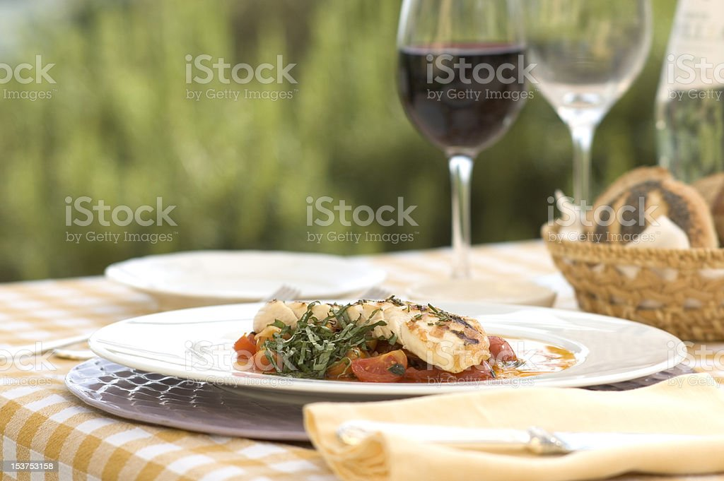Italian meal outdoors stock photo