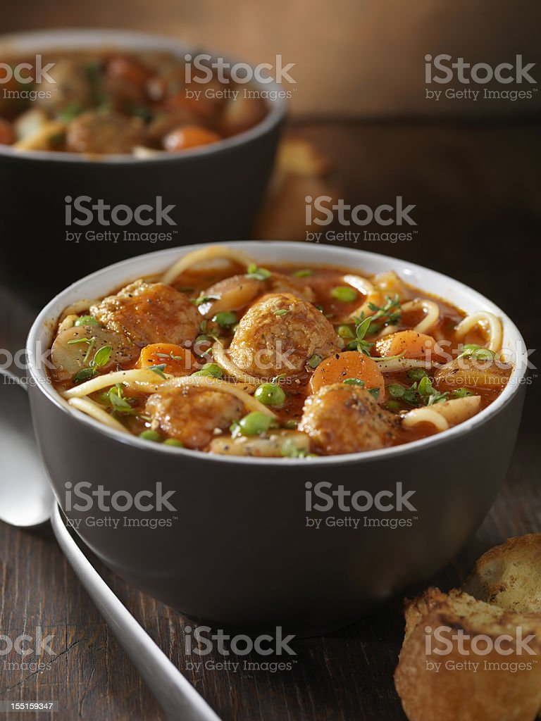 Italian Meatball Soup royalty-free stock photo