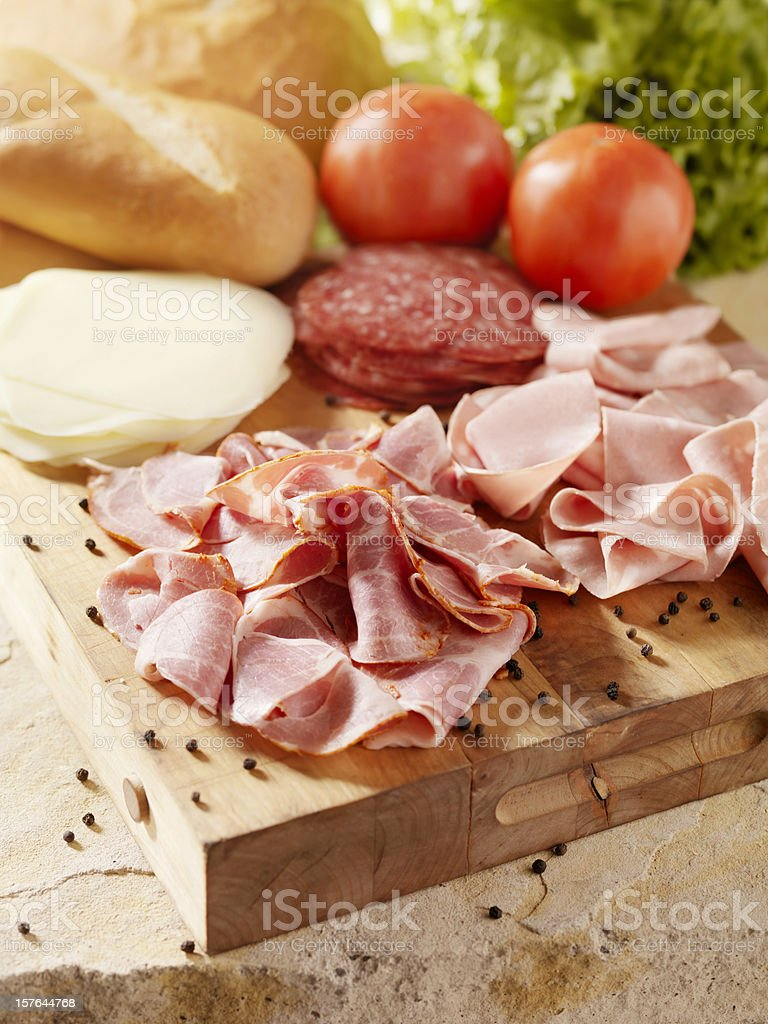 Italian Meats with Cheese and Vegetables stock photo