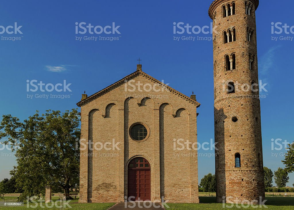 Italian medieval countryside church stock photo