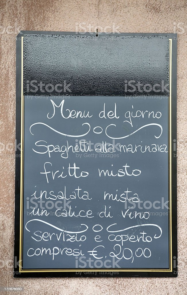 Italian Menu Venice Italy royalty-free stock photo