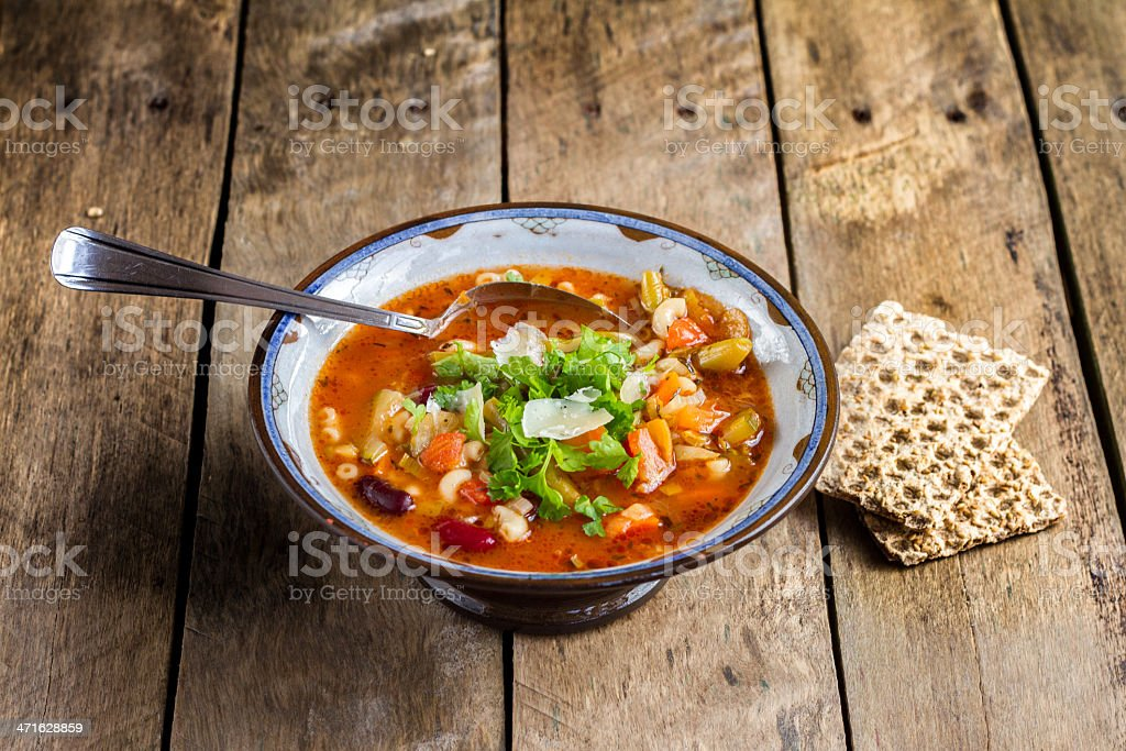 Italian Minestrone & Pasta Soup. royalty-free stock photo