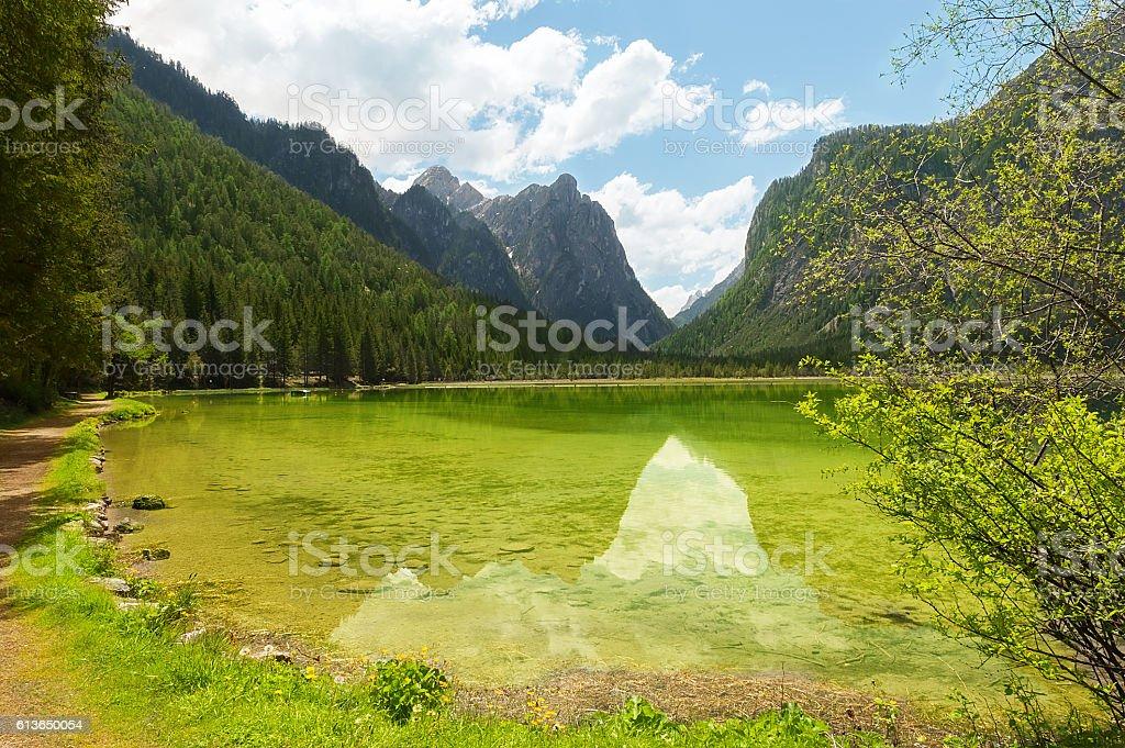 Italian mountain lake Dobbiaco stock photo